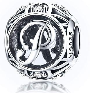 Abalorio con letra del alfabeto, diseño de letra P, compatible con pulseras Pandora y Chamilia