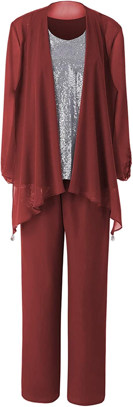 Women's Round lowest price Neck Chiffon Mother of The Piec Suits Limited time sale Pant Bride 3