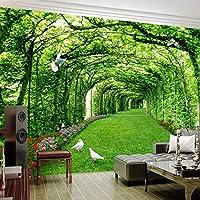 壁画壁紙3D緑の森の木々芝生の鳩風景写真壁画リビングルーム自己接着-200cm(W)x200cm(H)