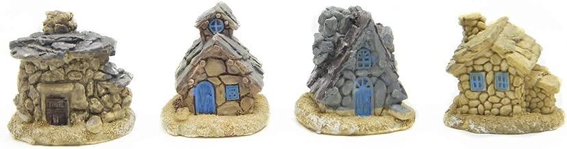 EDOBLUE Miniature Fairy Garden Stone House - Mini Fairy Cottage House for Garden & Patio Decoration - Accessories for Home Decoration Outdoor Décor 4pcs