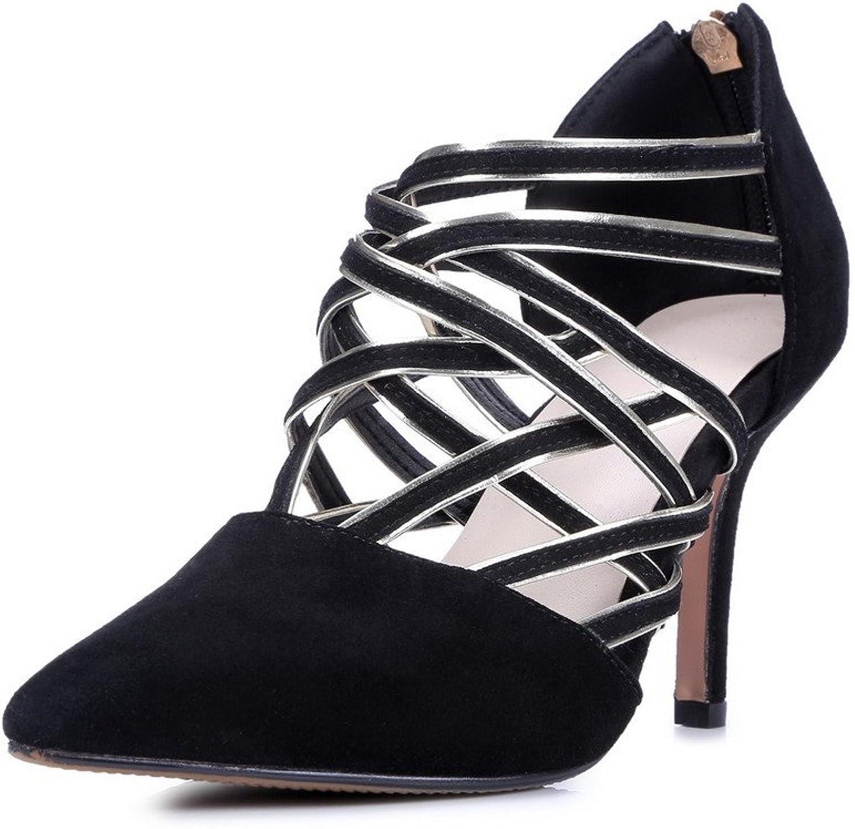 AmoonyFashion Women's Sheepskin Solid Zipper Closed Toe High-Heels Sandals