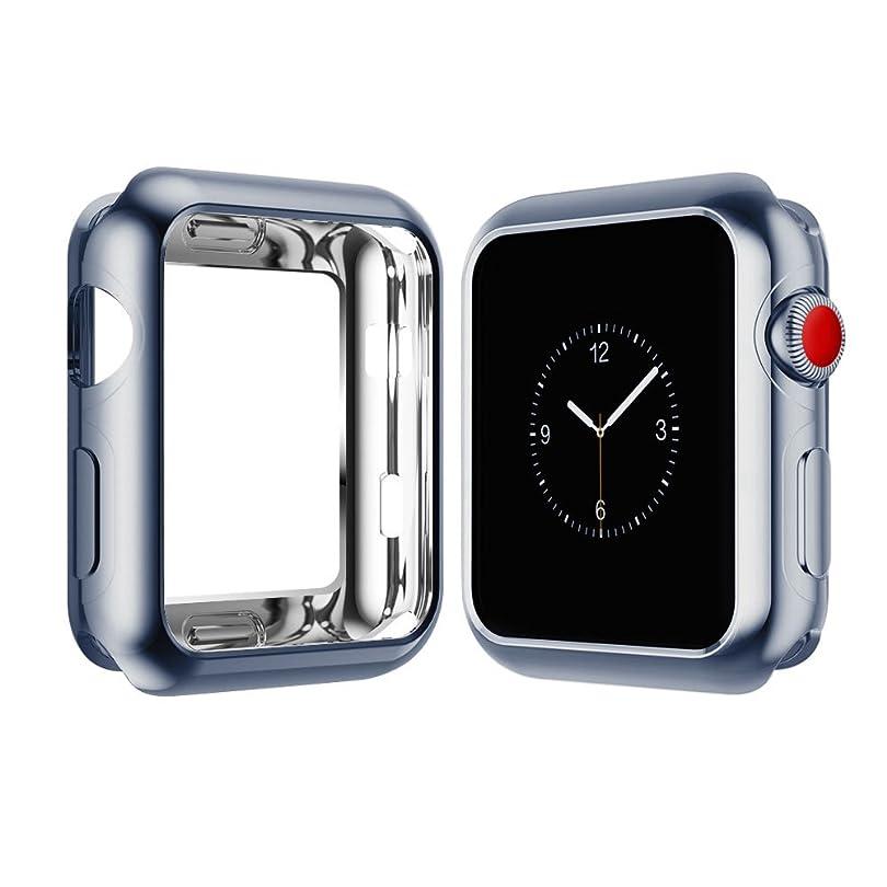 狂気脱走バーベキューVicstar Apple watch Series 3 42mm ケース カバー Apple watch 3 ケース メッキTPU保護 ソフト シリコンケース 薄型 衝撃吸収 脱着簡単 耐衝撃 柔らかい手触り グレー