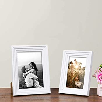 "Art Street Customize Table Photo Frame/Picture Frame for Desk (Photo Size 5""X7"" & 4""X6"") Photo Gift/Love Gift - (Set of 2- White)"