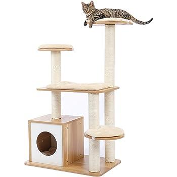 [Amazonブランド] Umi.(ウミ) キャットタワー 猫タワー 爪とぎポール ネコタワー 猫ハウス 多頭飼い 猫ベッド 展望台 運動不足解消 遊び場 大型猫 安定性抜群 麻紐 おしゃれ ベージュ