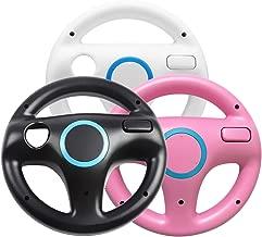 Jadebones 3 x pcs Black White Pink Steering Mario Kart Racing Wheel for Nintendo Wii Remote