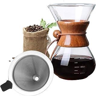 Bestcool Häll kaffebryggare, 400 ml manuell kaffedroppare med rostfritt stålfilter borosilikatglaskaraff med äkta trähylsa...