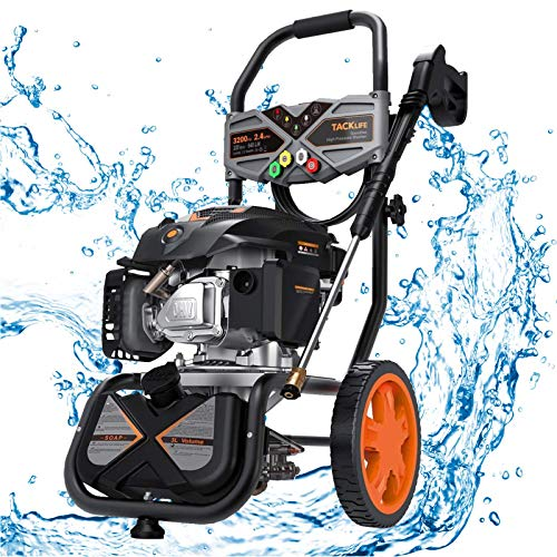 Product Image of the TACKLIFE Gas Powered Pressure Washer 3200 PSI, 2.4 GPM, 6.5 HP, Soap Tank, Five Nozzle Set, Muti-Use for Cleaning Car, Patio, Wall, Furniture, CARB Compliant, GSH01B