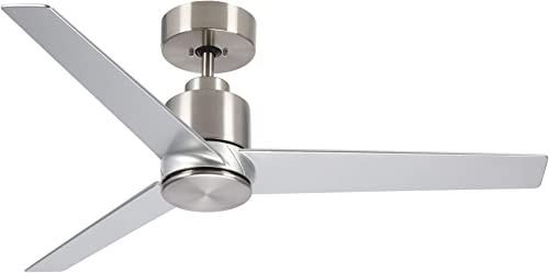 2021 kathy outlet online sale ireland HOME Arlo online sale Outdoor Ceiling Fan with Remote Control, 44 Inch | Modern Metal Fixture, Wet Rated with Weather-Resistant Blades | Semi Flush Downrod Mount | Light Kit Adaptable, Brushed Steel outlet online sale