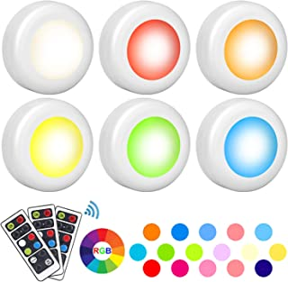 Wireless LED Puck Light, Mirviory Closet Light 16 Colors 3 Modes with Remote Control, Under Cabinet Lighting, Dimmable Timing Battery Powered Lights, Stick On Lights (6 Pack)