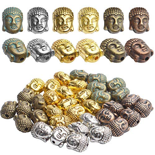 36pcs Buddha Head Beads, 6 Colors Tibetan Alloy Spacer Beads for Bracelet Jewelry Making Crafting