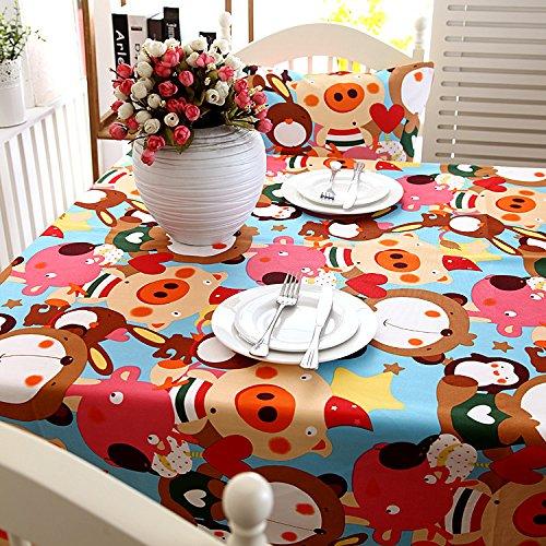 BLUELSS Canvas épais coton, nappe Green Fairy Tale cartoon animal table cloth,comme photo,90*140cm