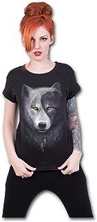 Wolf Chi-Boatneck Cap Sleeve Top Black Camiseta para Mujer