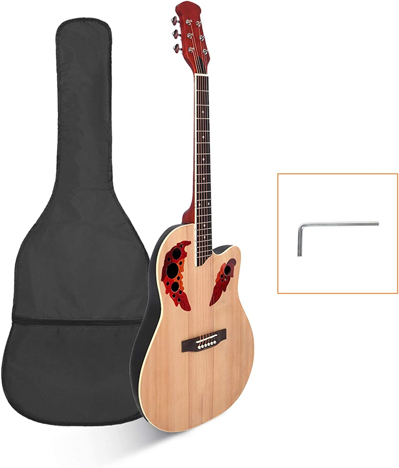 Durable Starter Super sale First Guitar Round Cutawary Bargain Back Acoustic