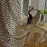 adaada Juego de 2 cortinas de tul negro y dorado para salón (245 x 140 cm, doradas)