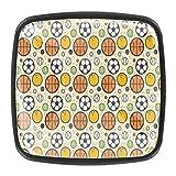 4PCS colorato cristallo vetro armadio armadio cassetto manopola porta tirare maniglia, sport pallacanestro calcio baseball