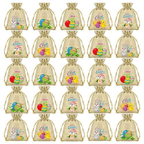 FEPITO Pasen Gift Tassen Pasen jute Tassen Pasen Trekkoord Tassen Bunny Jute Goodie Tassen Bulk voor Pasen Party benodigdheden