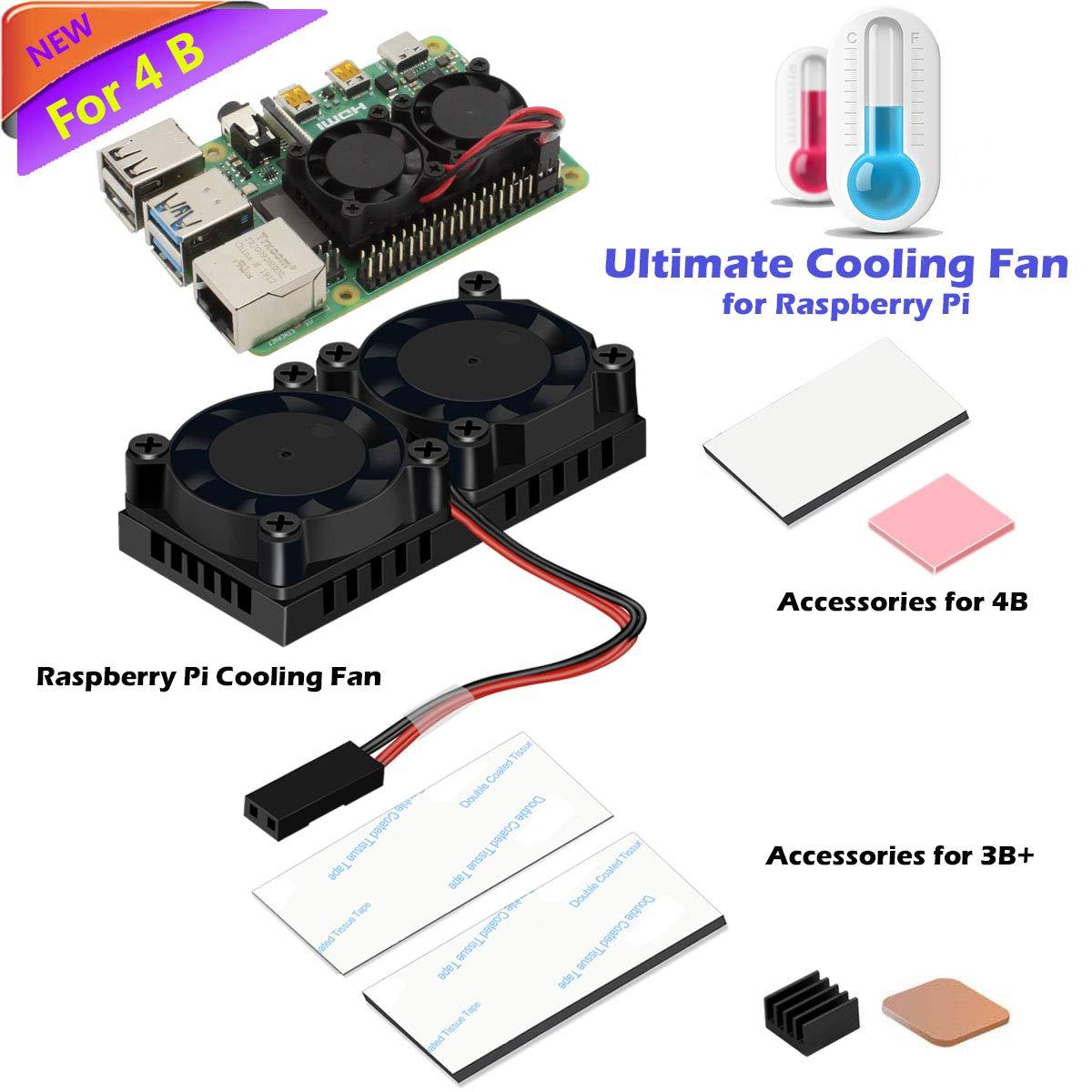 iuniker Raspberry Pi 4 ventilador dual con disipador de calor Raspberry Pi, ventilador Raspberry Pi para Raspberry ...