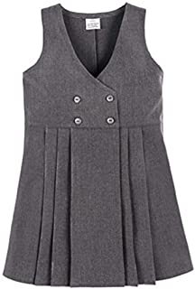 Girls School Uniform 4 Button Wrap Over Style Pleated Pinafore Dress Age 2-16 Years
