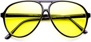 Retro 80's Style Driving Lens XL Large Plastic Aviator Sunglasses (Black Yellow)