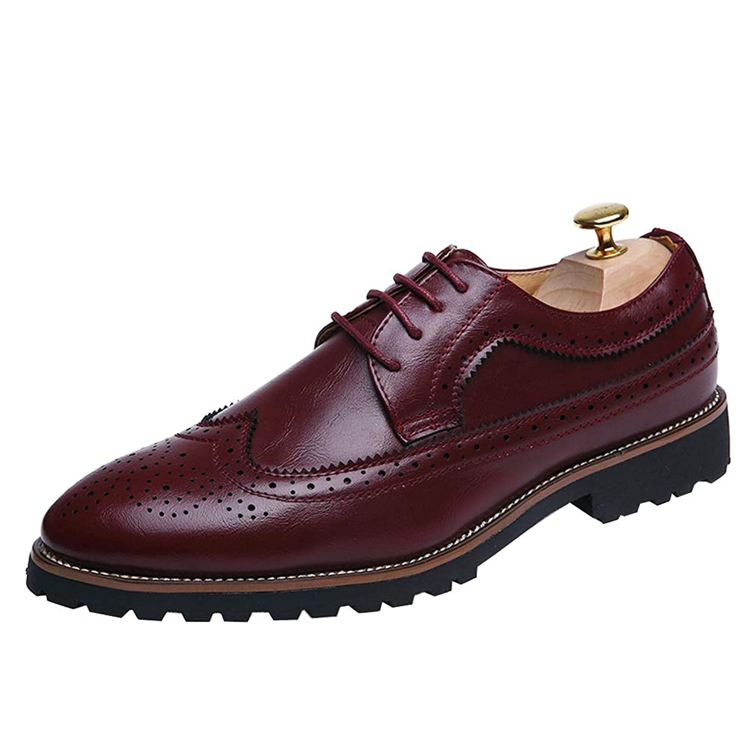 KUIBU Men's Classic Carved Cap Toe Lace-up Flat Oxford Dress Formal Wedding Office Business Shoes Boat Flats Shoes
