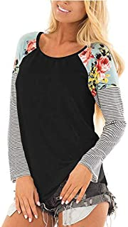 iHHAPY Women's Sweatshirt Long Sleeve Shirt Sports Shirts Stripe Top Floral Loose Blouse Casual Tops for All Seasons