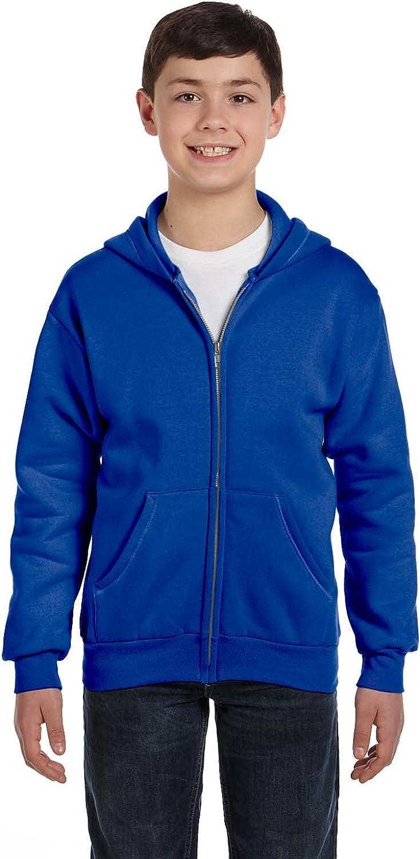 Hanes Youth 78 Oz EcoSmart 50/50 Full-Zip Hood - Deep Royal - XS - (Style # P480 - Original Label)
