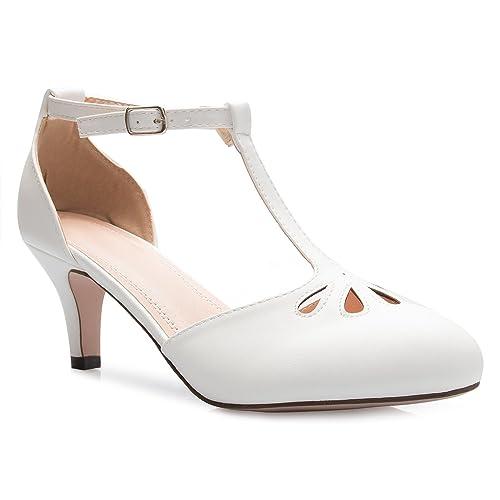 981340ec3 OLIVIA K Women s Kitten Low Heels T-Strap Pumps - Adorable Vintage Retro  Shoes with
