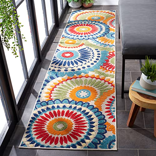 Safavieh Cabana Collection CBN382M Boho Medallion Indoor/ Outdoor Non-Shedding Stain Resistant Patio Backyard Runner, 2'2' x 9', Blue / Ivory