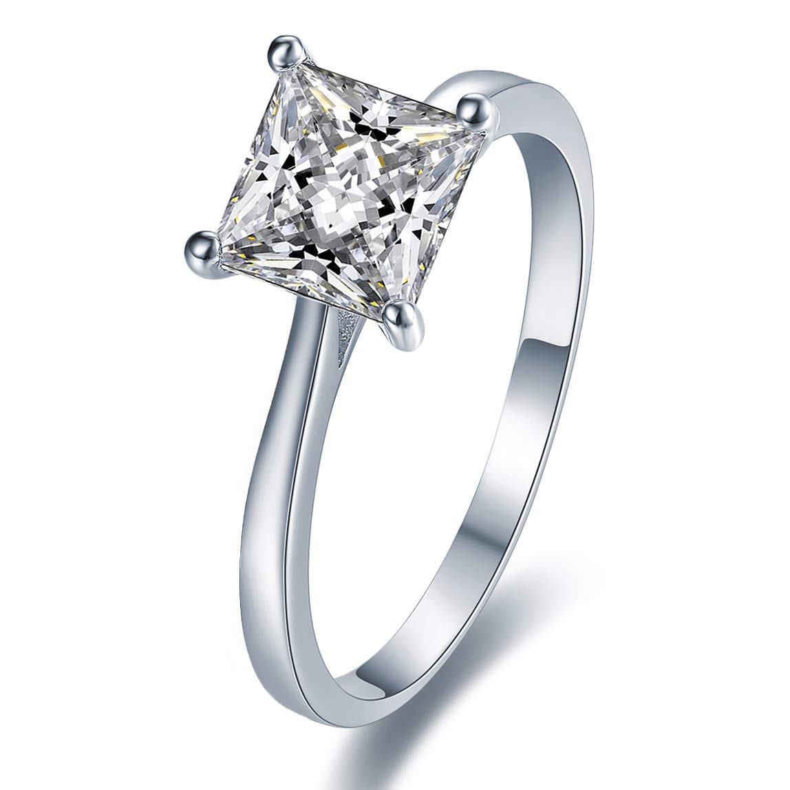 Sizes J to Q available 925 Silver 2mm Claw Set CZ Solitaire Ring Gift Boxed