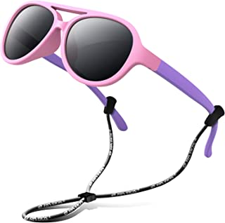 RIVBOS Rubber Kids Polarized Sunglasses With Strap Glasses Shades for Boys Girls Baby and Children Age 3-10 RBK004 (004-1 Pink)