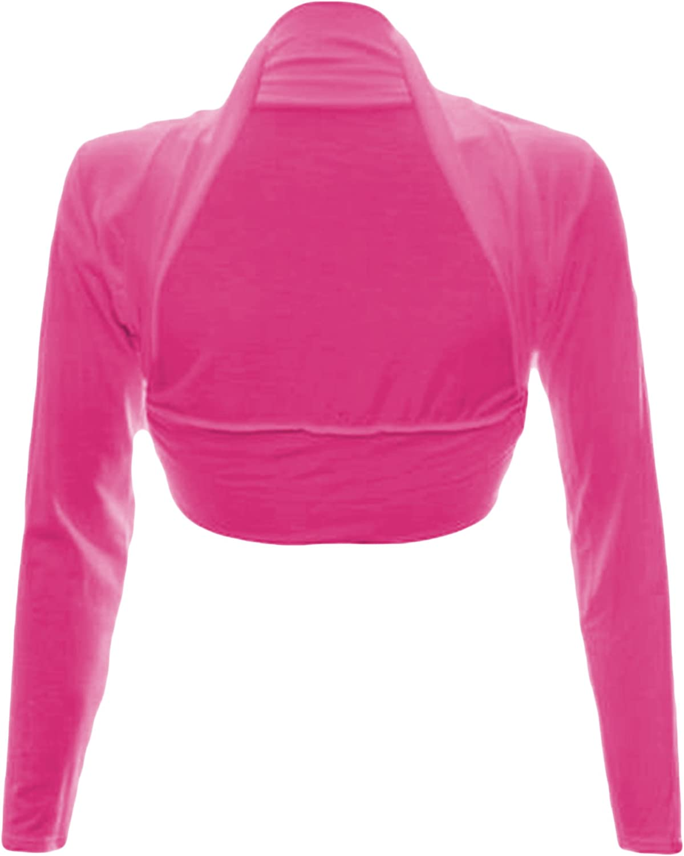 Fashion Wardrobe Womens Long Sleeve Boleros Shrugs Crop Cardigan