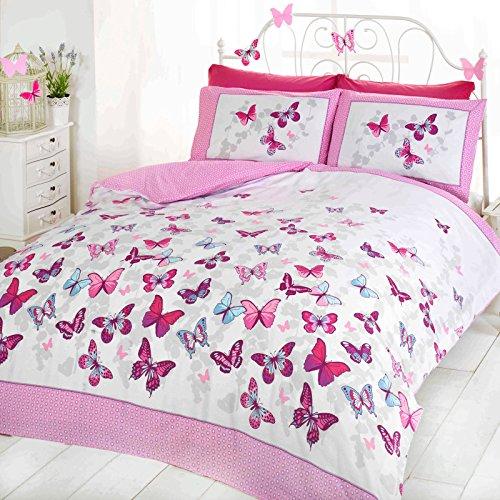 Bettwäsche-Set, Wendbar, Für Mädchen, Schmetterling, Gepunktet, Baumwolle, Bettbezug, Tropen-Design, Baumwollmischung, Pink ( white purple teal ), Single Duvet Cover ( kids childrens )