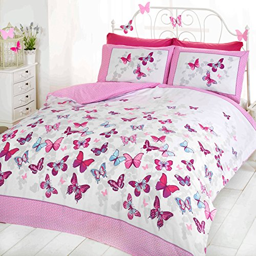 Bettwäsche-Set, Wendbar, Für Mädchen, Schmetterling, Gepunktet, Baumwolle, Bettbezug, Tropen-Design, Baumwollmischung, Pink ( white purple teal ), Single Duvet Cover ( kids childrens )