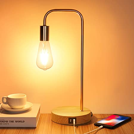 Touch Control LED Lamps, 3-Way Dimmable Table Lamp, with 2 USB Charging Ports, Industrial Desk Lamp for Bedroom, Nightstand, Living Room, Office, Vintage 6W ST64 Dimmable Filament Bulb Included