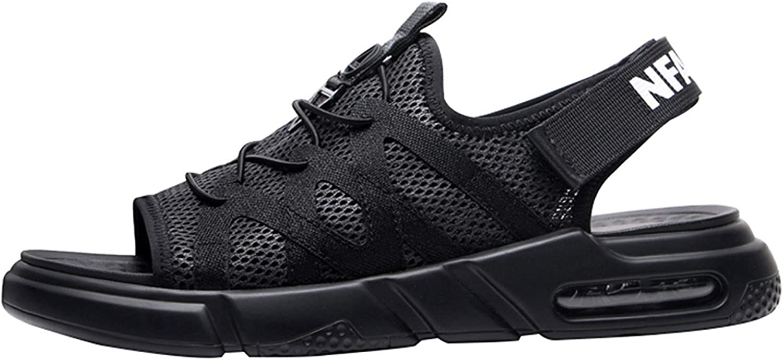 Fuxitoggo Men Summer Sandals Beach shoes Casual Sport Sandals Fashion Air Cushion Sandals (color   Black, Size   40EU)