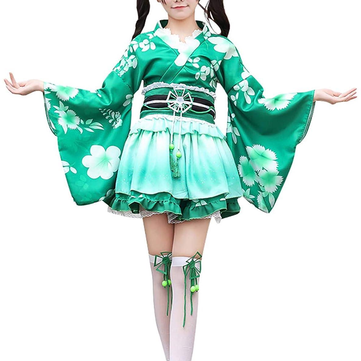 気球しばしば巡礼者レディース 花魁系 ロング 着物ドレス シフォン 桜 和風 浴衣 コスチューム コスプレ衣装 帯付き 粉