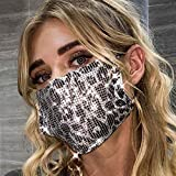 Fstrend Sparkly Sequins Face Mask Chain Fashion Metal Masquerade Masks (Leopard Silver)