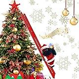 Electric Climbing Ladder Santa Claus, African Santa Climbing Ladder with Music Funny Singing Climbing Santa LED Novelty Black Santa Claus Decoration for Christmas Tree Hanging Ornament Xmas Gift