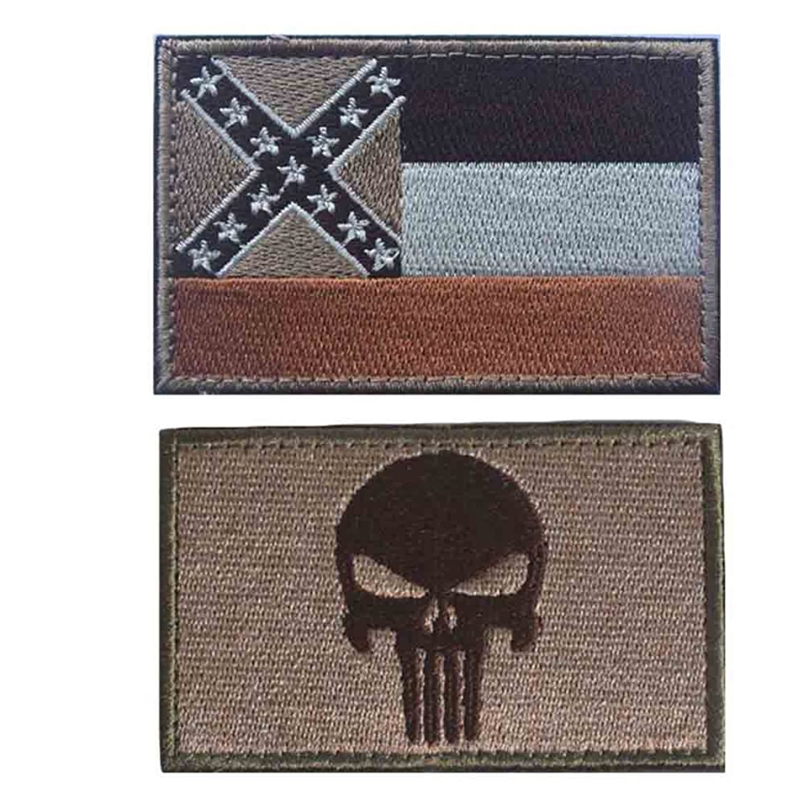 Embroidery USA MISSISSIPPI State Flag and Punisher Tactical patches (2