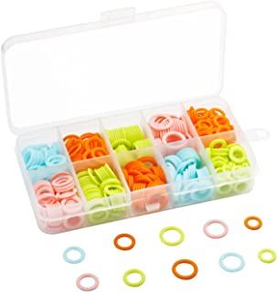 HEIRTRONIC 120 Pieces Colored Knit Knitting Stitch Markers Rings with Storage Box (Multiple-Size)