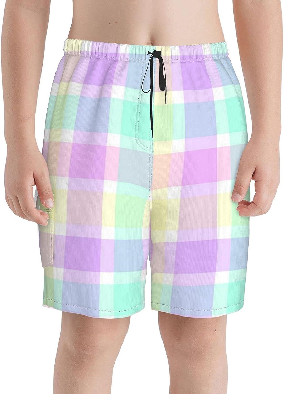 Pastel Plaid 1 year warranty Max 60% OFF Boys Swim Trunks Shor Beach Teens Boardshorts