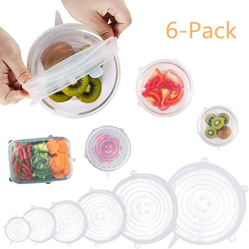 SILICONE STRETCH LIDS 6 Pack 6 Size Stretchable Flexible Food Bowl Cover Fersh Reusable Seal Lids
