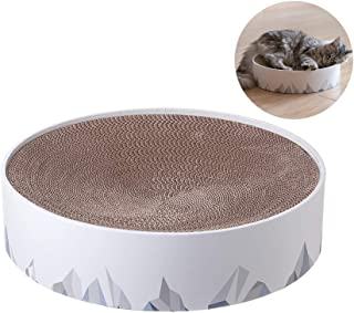 pidan Cat Scratching Cardboard Pad Lounge Bed Round Scratch Pad Cat Scratcher Cat Scratch Lounge of Eco-Friendly Material for Small Meddium Large Cat (Valley)