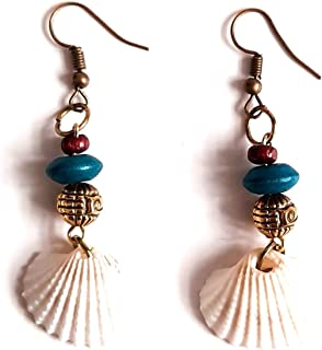 Aayas Creation Original Sea Shell Wooden Beads Handmade Antique and Unique Boho Earrings for Girls and Women