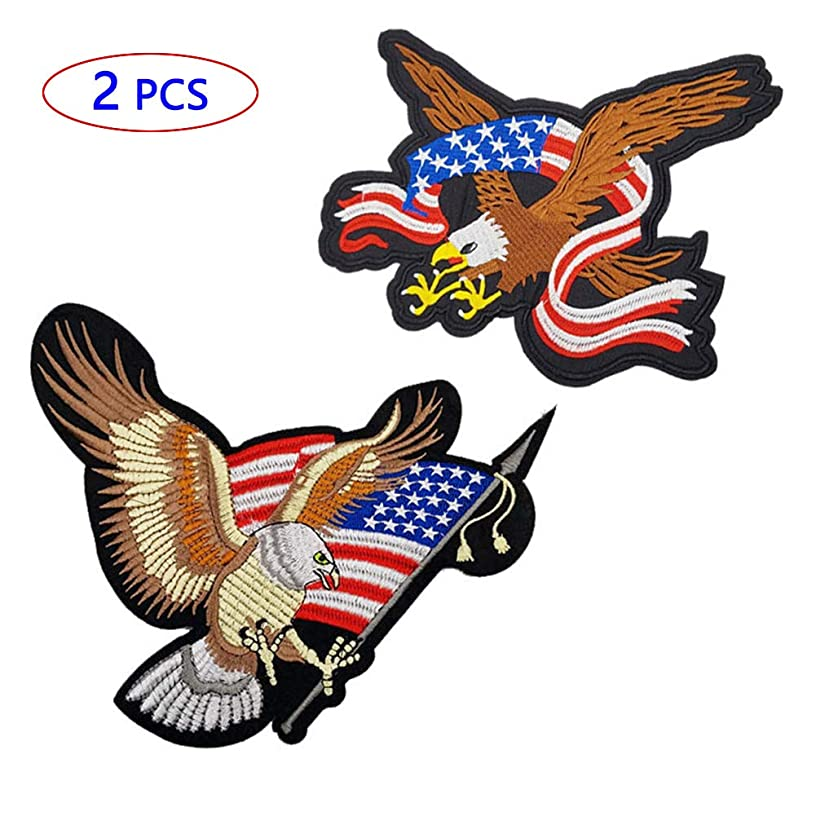 Patriotic Eagle Patches American Flag Iron on Patches 2-Piece Bald Large Eagle Patch 8.6