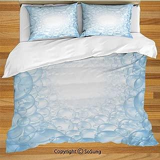 Nursery King Size Bedding Duvet Cover Set,Bubble Bath Soap Suds Floating Circular Foam Spheres Aquatic Artwork Print Decorative 3 Piece Bedding Set with 2 Pillow Shams,Blue and White
