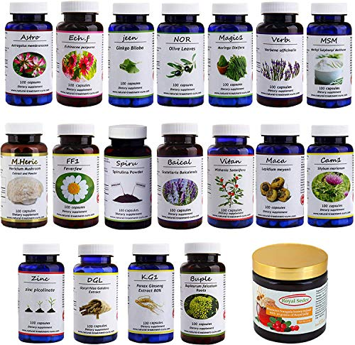 Hekma Center Supplements Package for MS - 18 Medicinal Herbs & Sidr Honey with Royal Jelly - 100% Natural, Pure Organic - Vegan - Supplements for MS