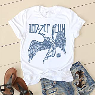 Led Zeppelin Falling Angel Distressed Inked Hand Drawn Logo Swan Song Unisex T-shirt Tee Rock led zeppelin t shirt logo t shirts for men and women