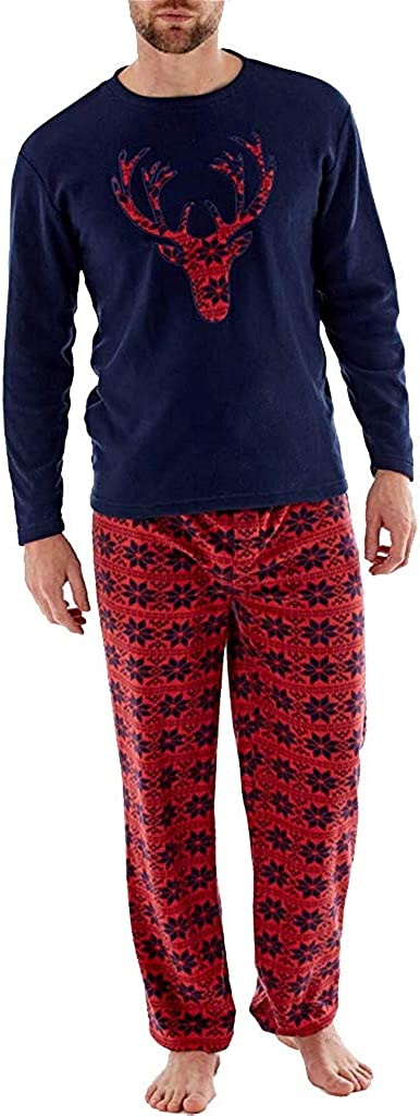 Men's Pajamas Sets, F_Gotal Mens Christmas Xmas Deer Print Floral Pajamas Nightwear Sleepwear 2Pcs Outfits Sets