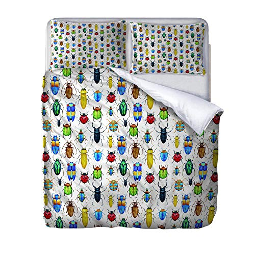 Double duvet covers set insect Quilt Cover Set with Zipper 100% Polyester with 2 Envelope Closure Pillowcases 50x75cm for Children adults woman 200x200cm